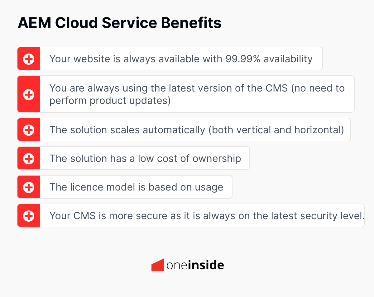 What are the main benefits of Adobe Experience Manager as a Cloud Service?